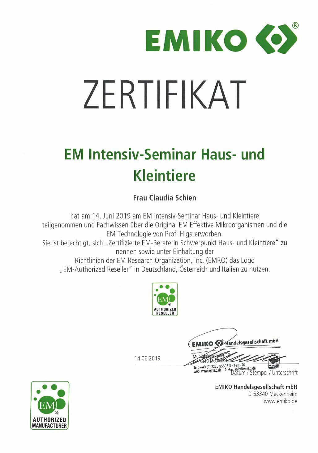 EM-Berater-Zertifizierung für Haus- und Kleintiere