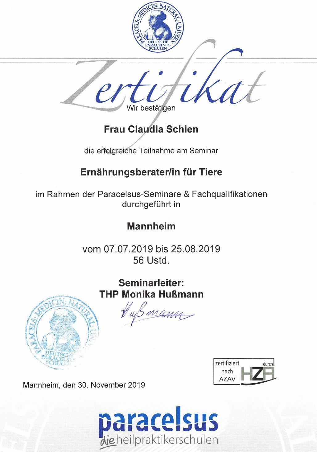 Ernährungsberatung - meine Zertifizierung