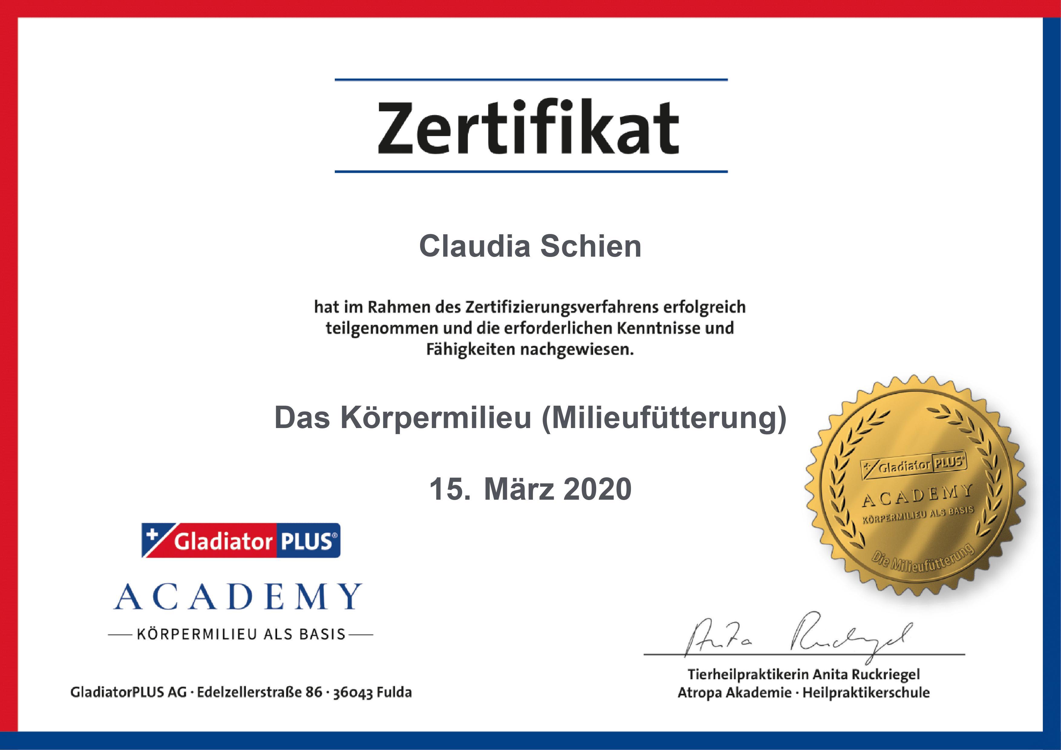 GladiatorPLUS-Zertifikat