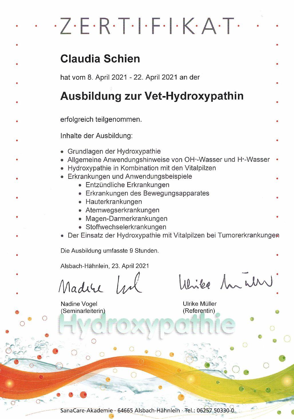 Kennen Sie schon die Hydroxypathie?